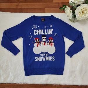 Ugly Christmas Sweater Chillin Snowmies Medium